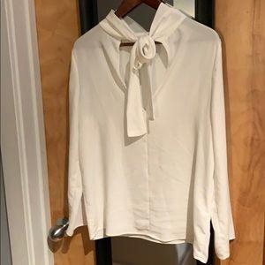 Oak + Fort White Tie Neck Blouse
